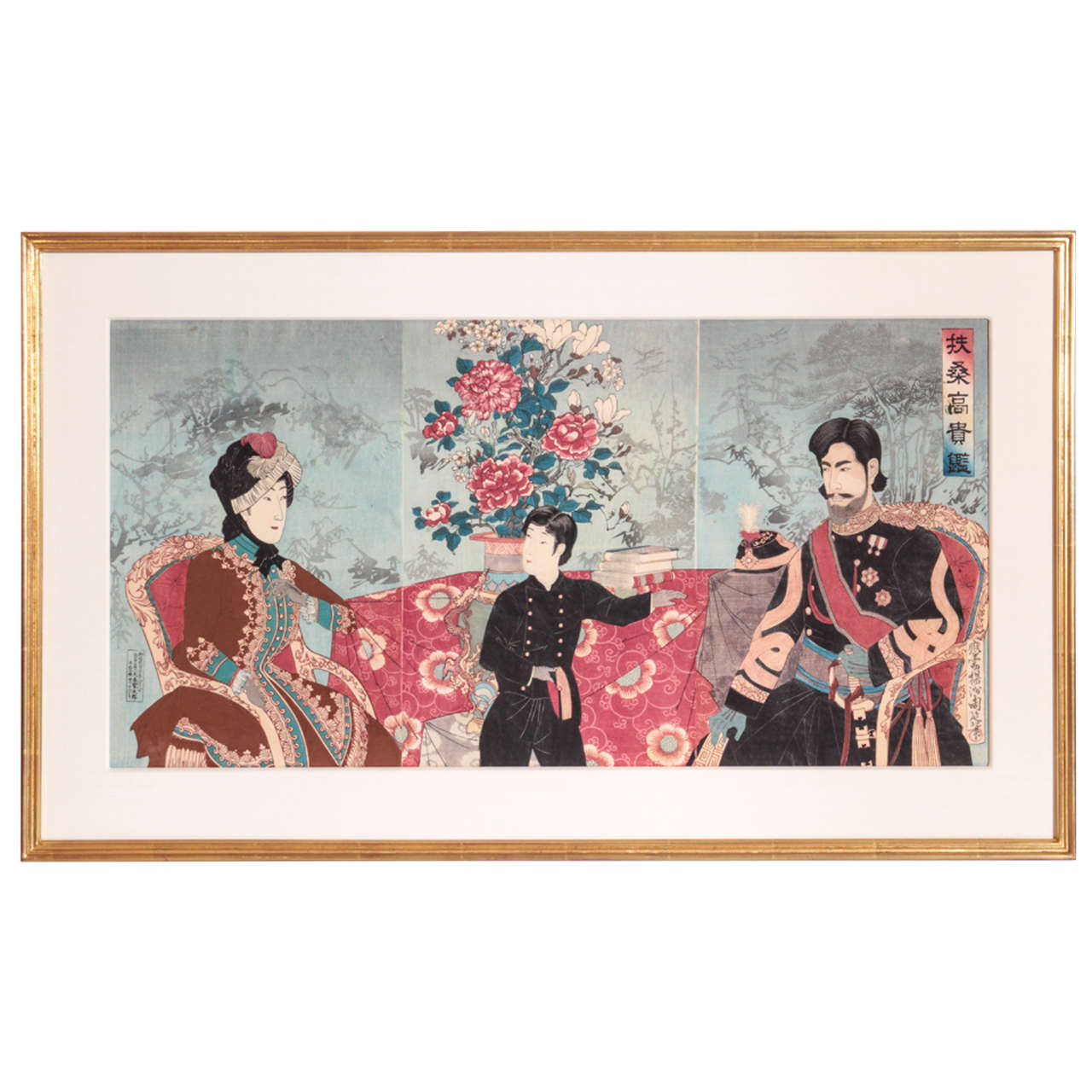 Important Japanese Color Woodblock Triptych of the Imperial Family