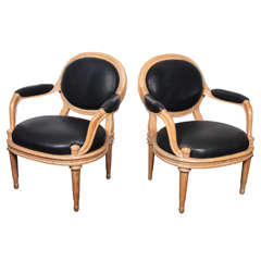 Pair of David Hicks Paris Armchairs Upholstered in Black Leather