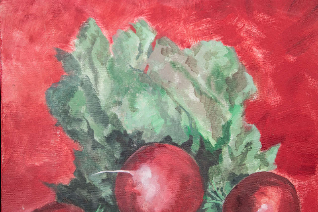 American 1960s Radishes Painting by David Halpern For Sale