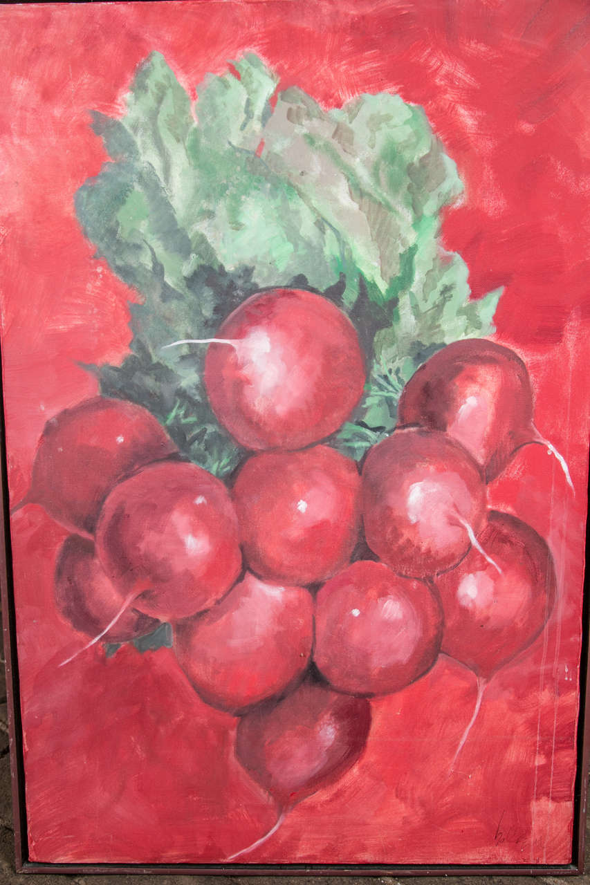 1960s Radishes Painting by David Halpern For Sale 1