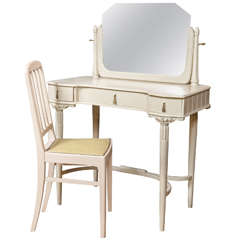 French Art Deco Dressing Table and Chair