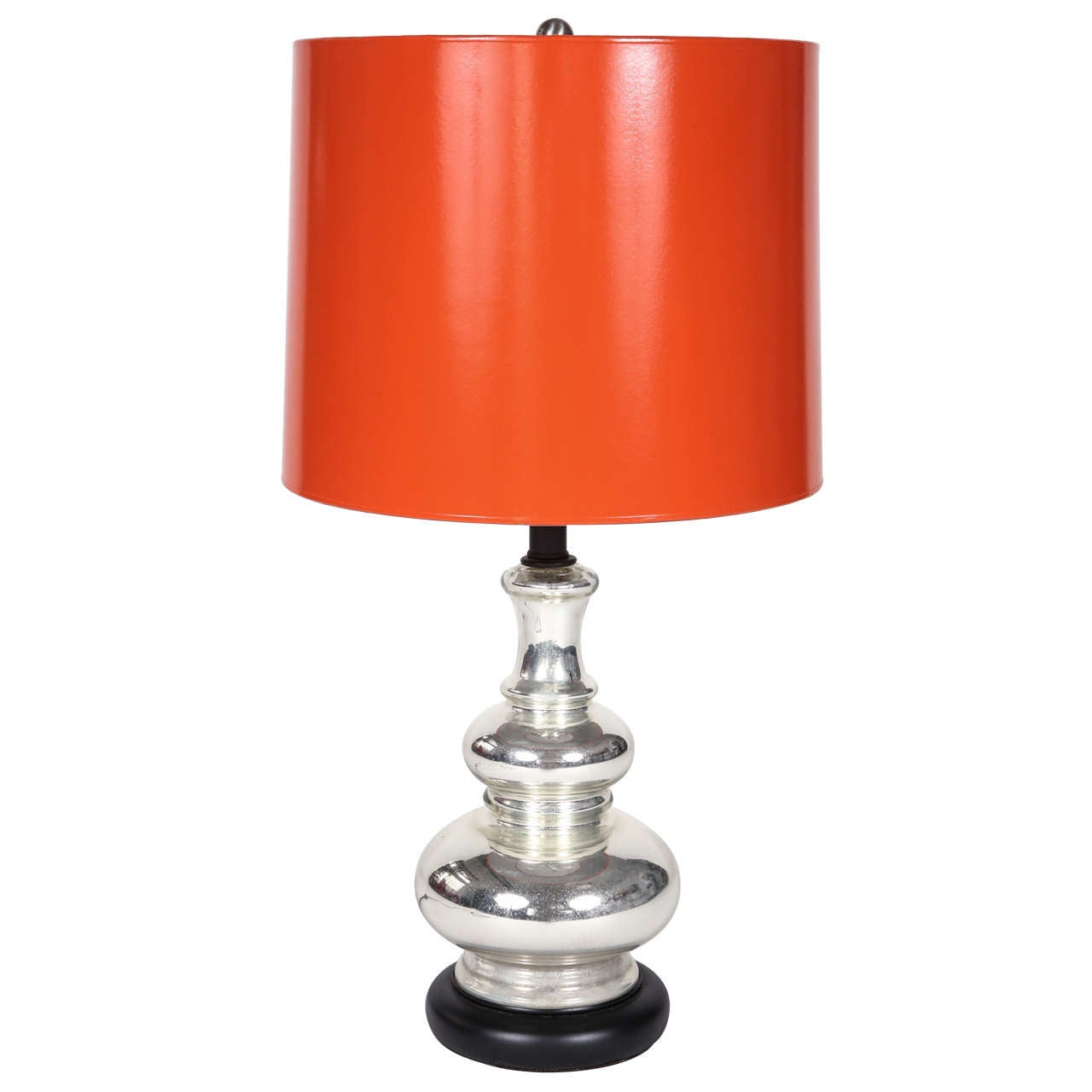 Vintage Tiered Mercury Glass Lamp With Hermes Shade At 1stdibs