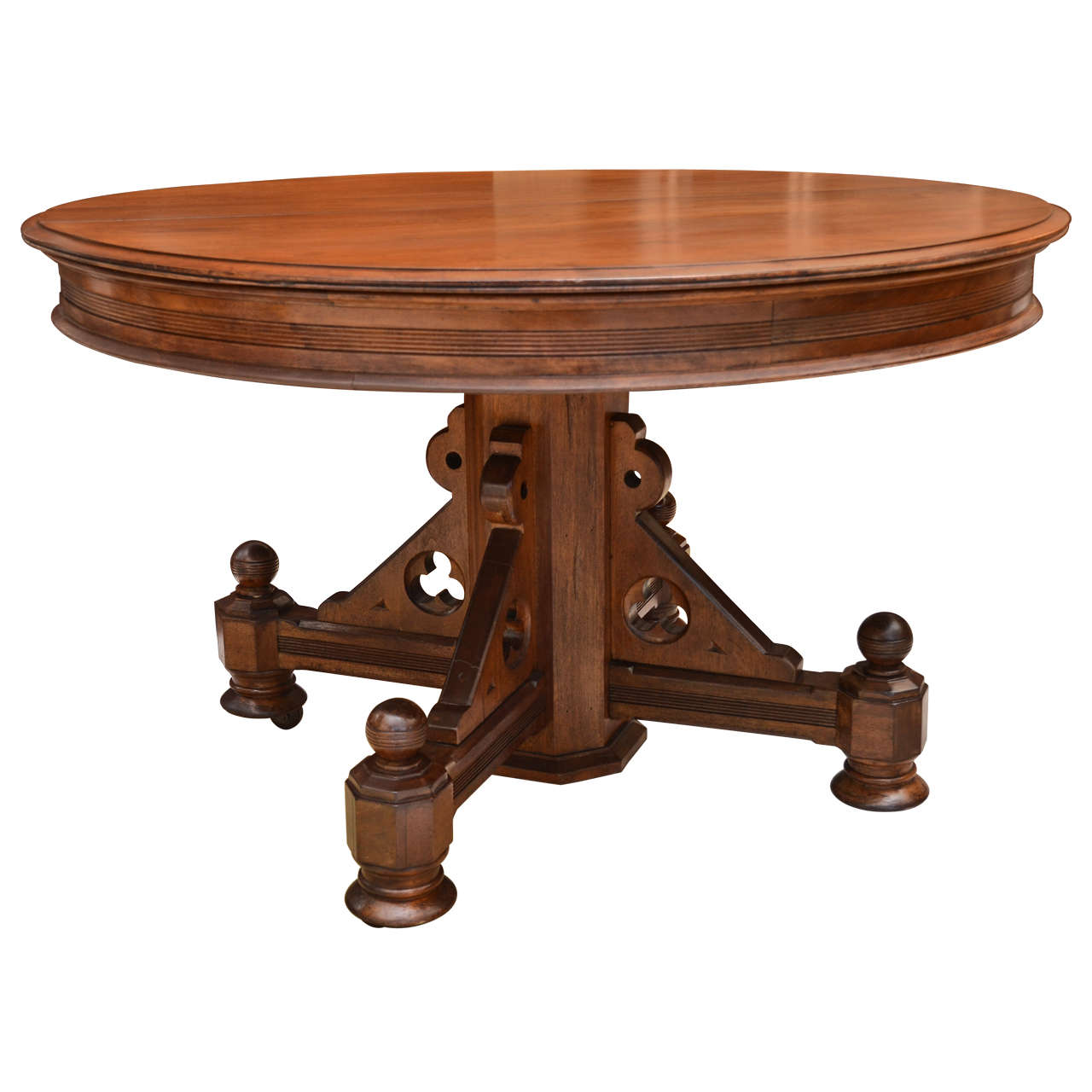 Walnut american gothic revival center table for Furniture centre table