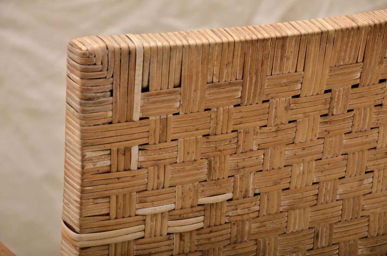 Pr American 40 S Woven Wicker Armchairs W Cerused Oak