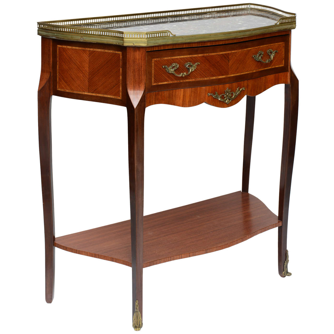 Inlaid Wood French Console With Original Marble Top And