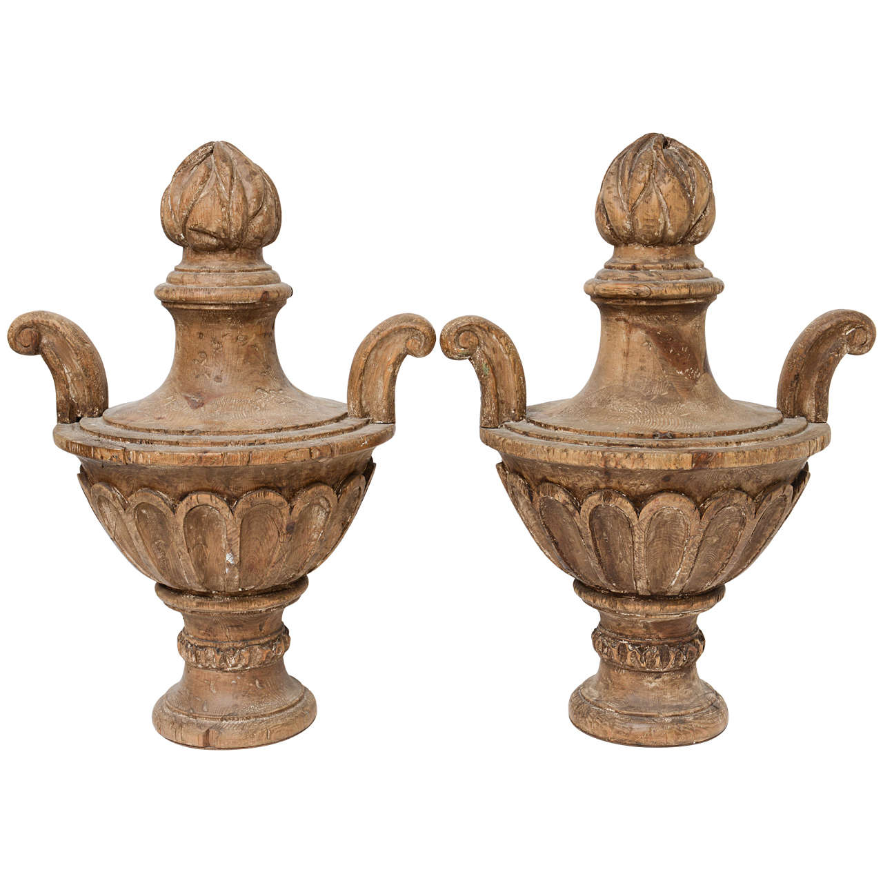 pair of 19th century carved wood finials at 1stdibs