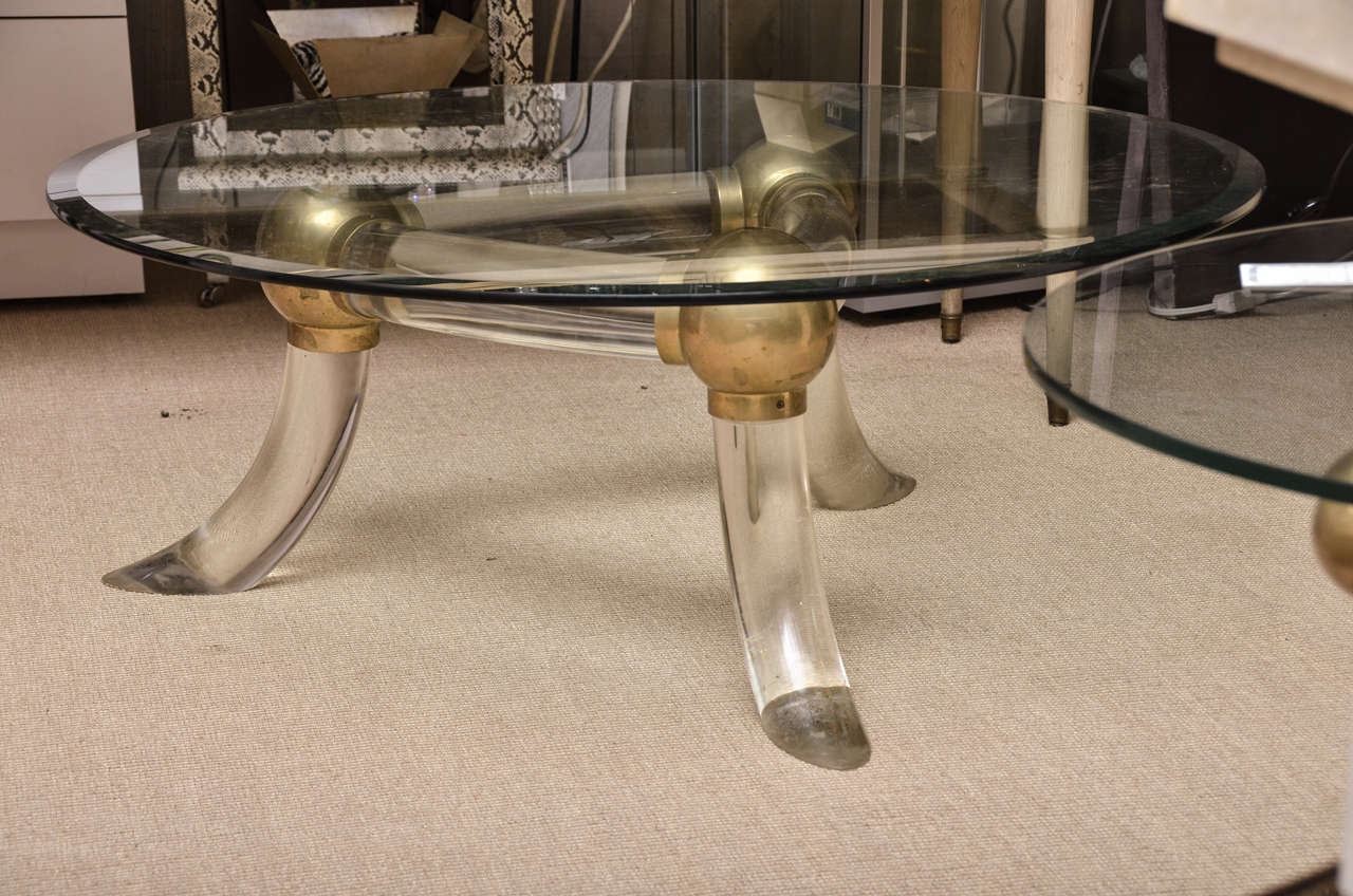 Unusual lucite and brass round glass top coffee table at 1stdibs Brass round coffee table