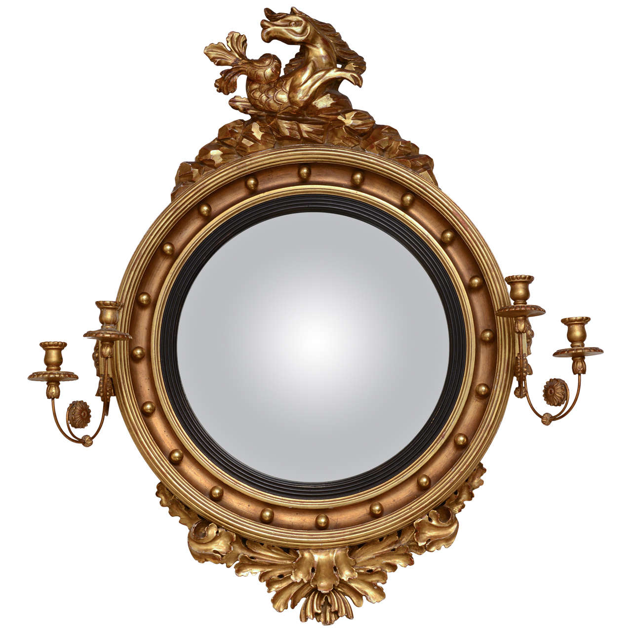 Giltwood girandole mirror for sale at 1stdibs for Convex mirror for home