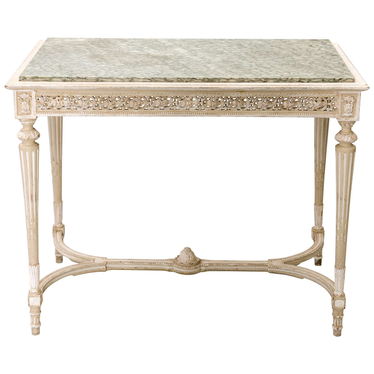 Painted French 19c. Console/Center Table with Marble Top