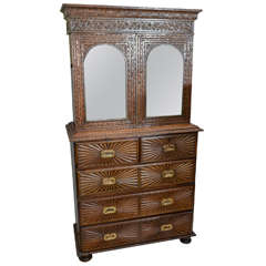 Anglo-Indian Campaign Mirrored Door Cupboard on Five-Drawer Chest