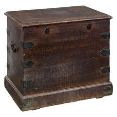 18th Century Oak and Brass-Bound Silver Chest