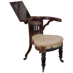 George III Mahogany and Brass-Mounted Reading Chair