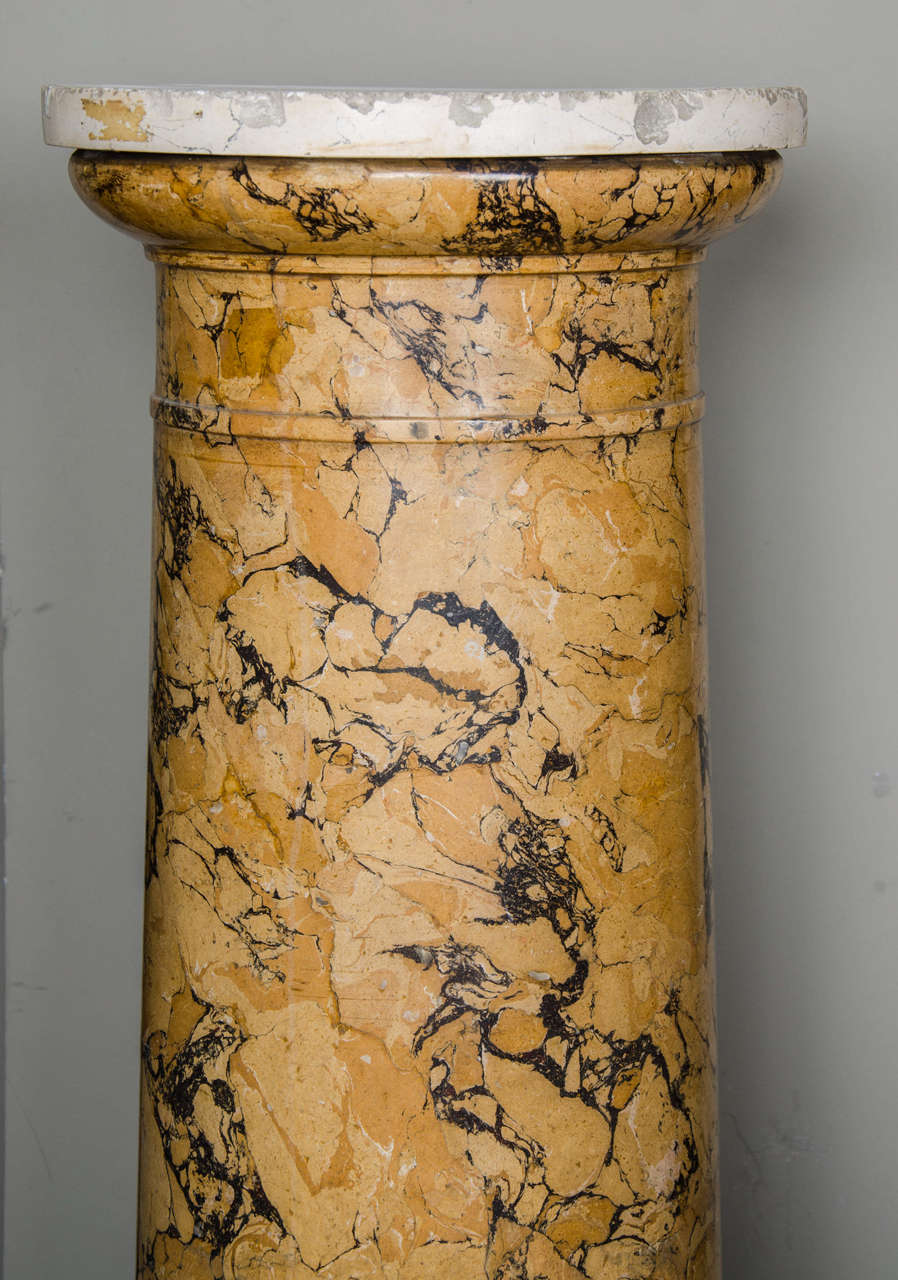 British Tall Sienna Scagliola Column For Sale