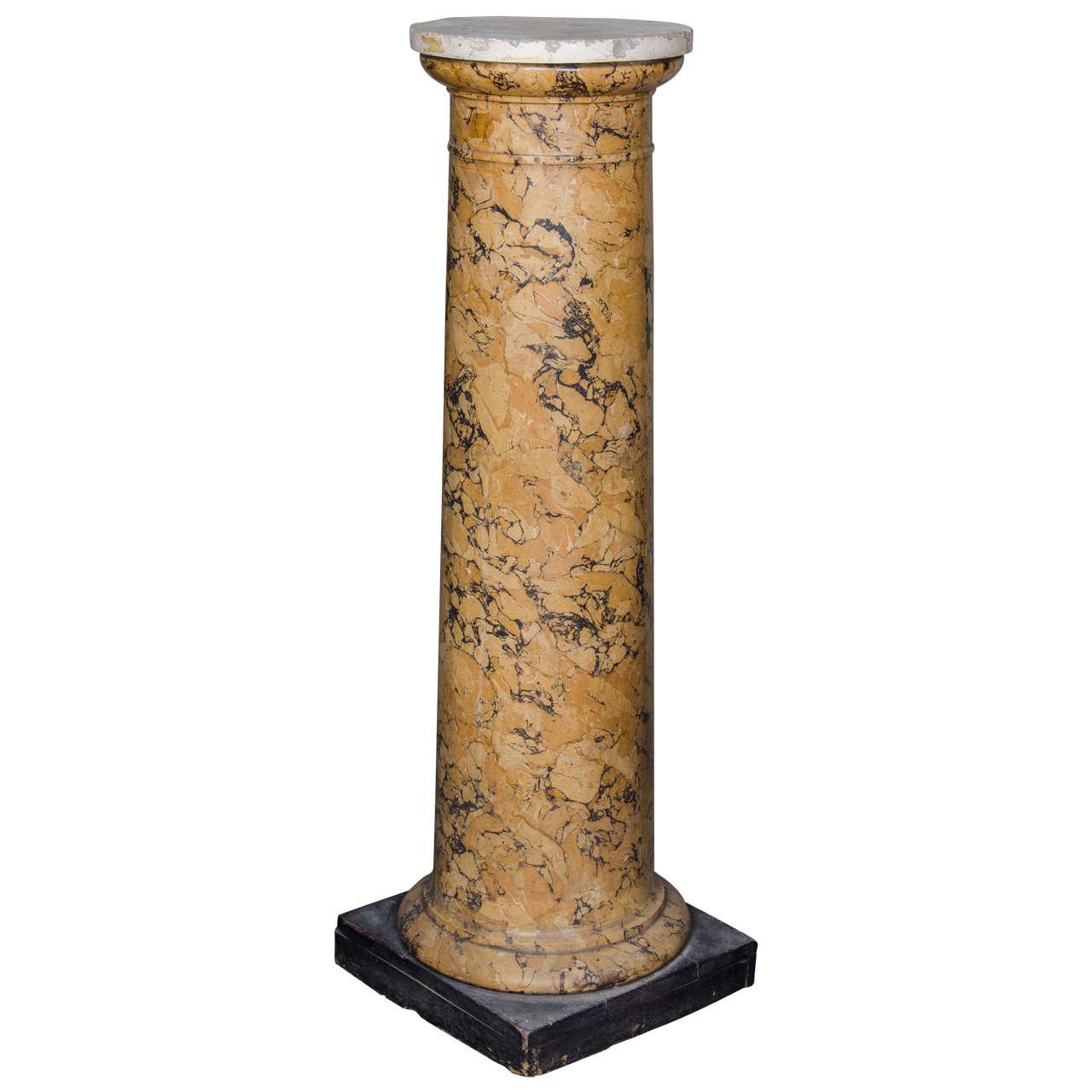 Tall Sienna Scagliola Column For Sale