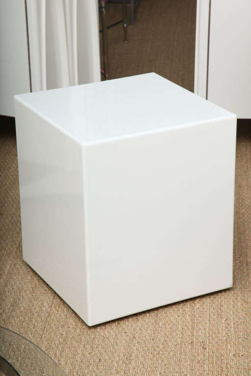 Pair Lacquered Cube Side Tables Pedestals At 1stdibs