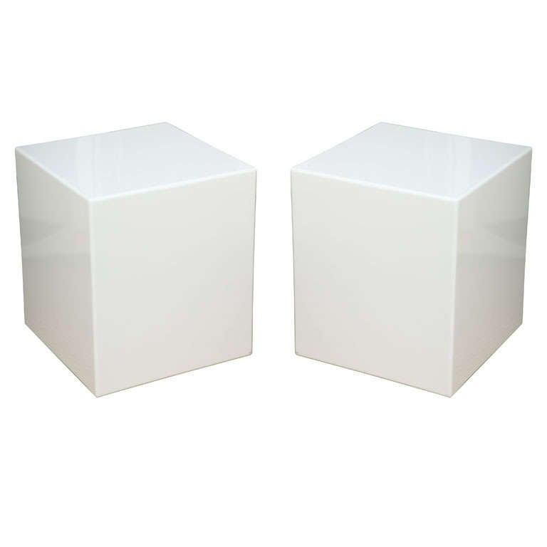 Pair Lacquered Cube Side Tables/Pedestals 1