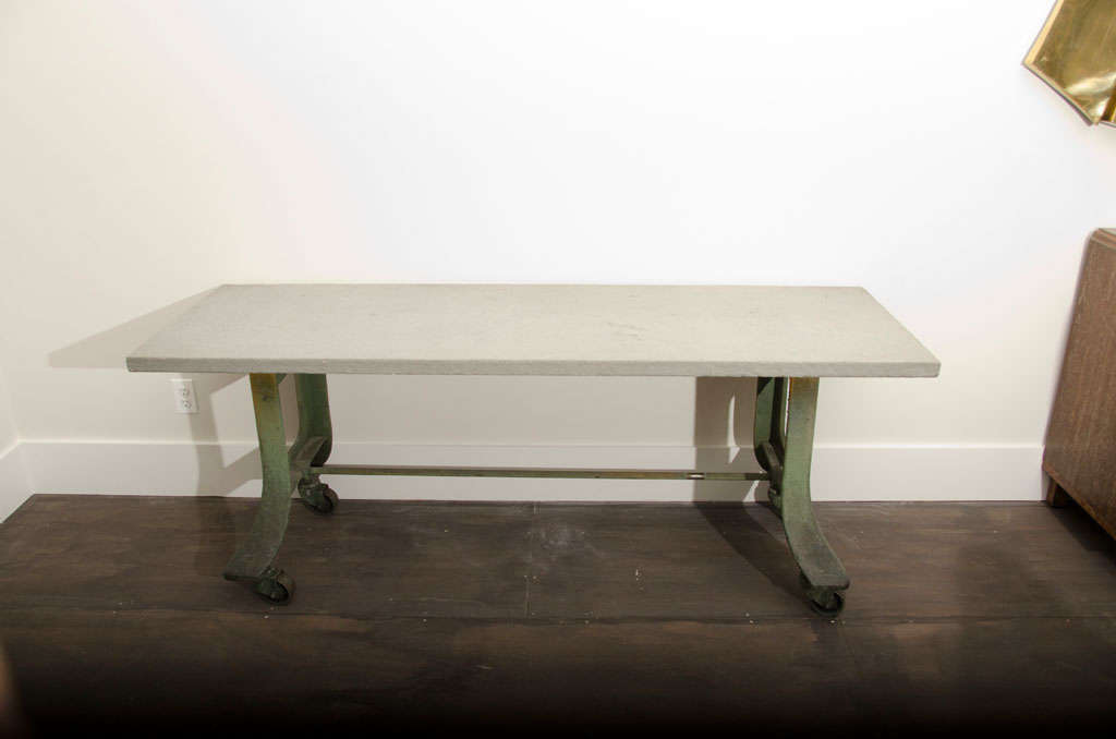 American Industrial Table Base with Bluestone Top
