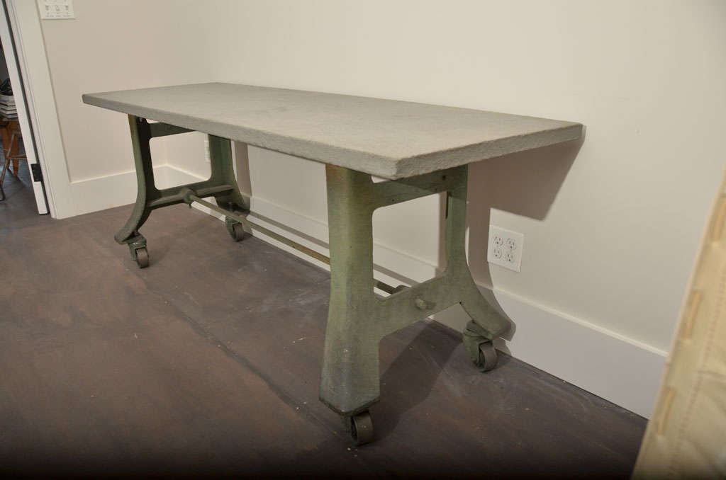20th Century Industrial Table Base with Bluestone Top