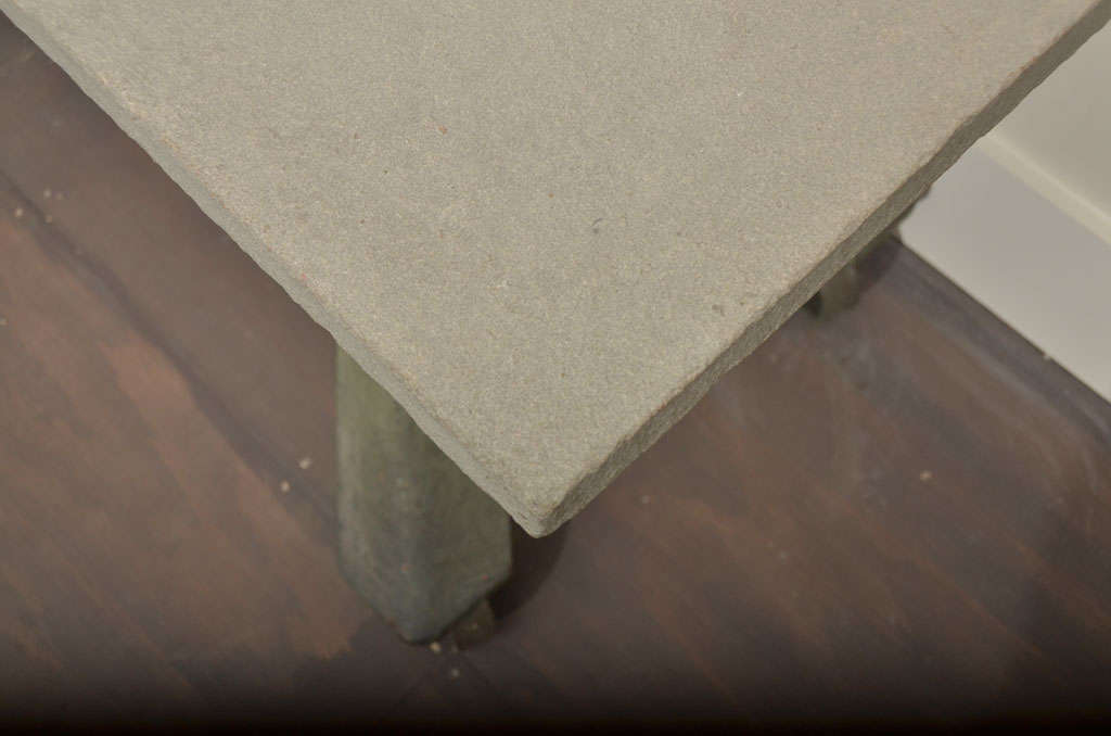 Industrial Table Base with Bluestone Top 1