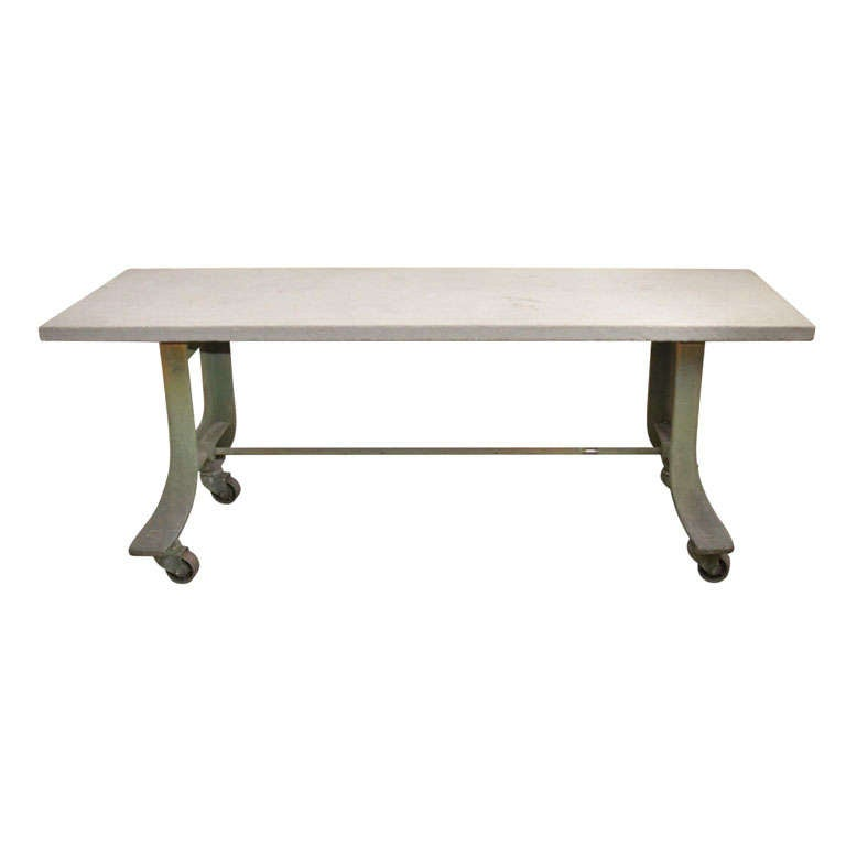 Industrial Table Base with Bluestone Top