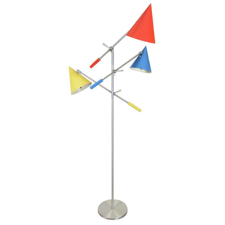 High Quality Mid Century Tri Color Floor Lamp Attributed To Arte Luce 1