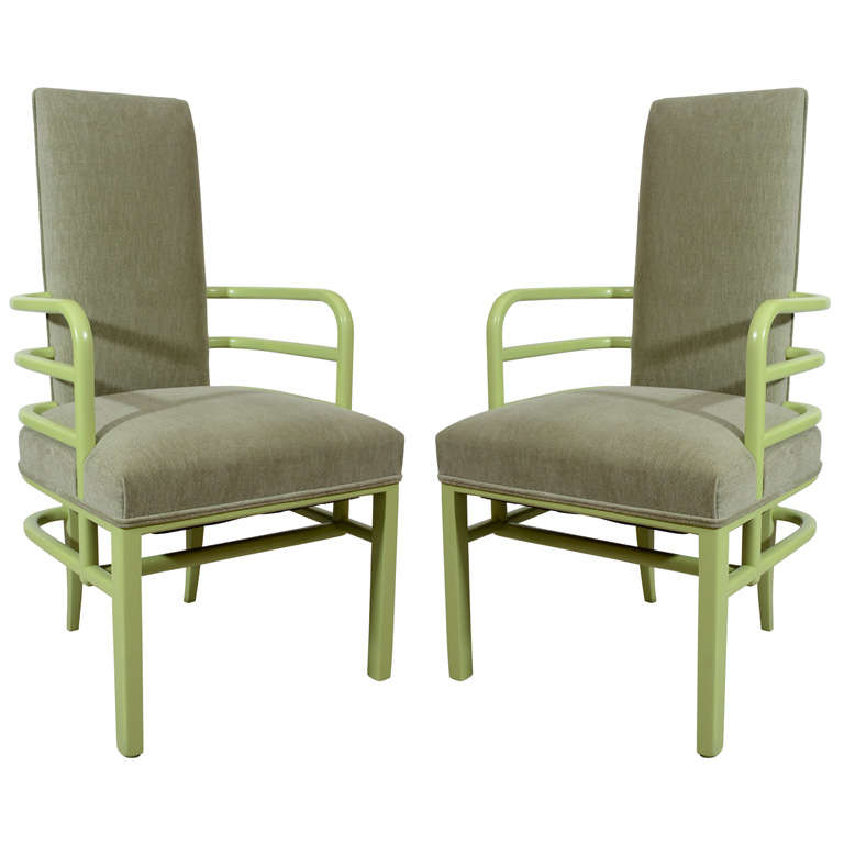 Iconic art deco kem weber group set of six dining chairs for Art deco furniture chicago