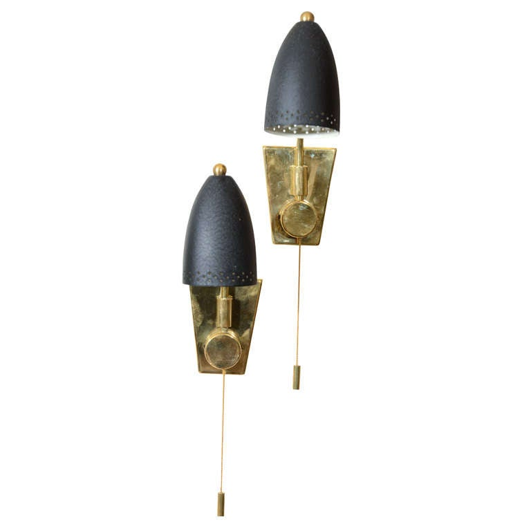Pair of Petite French Brass and Black Enamel Sconces at 1stdibs