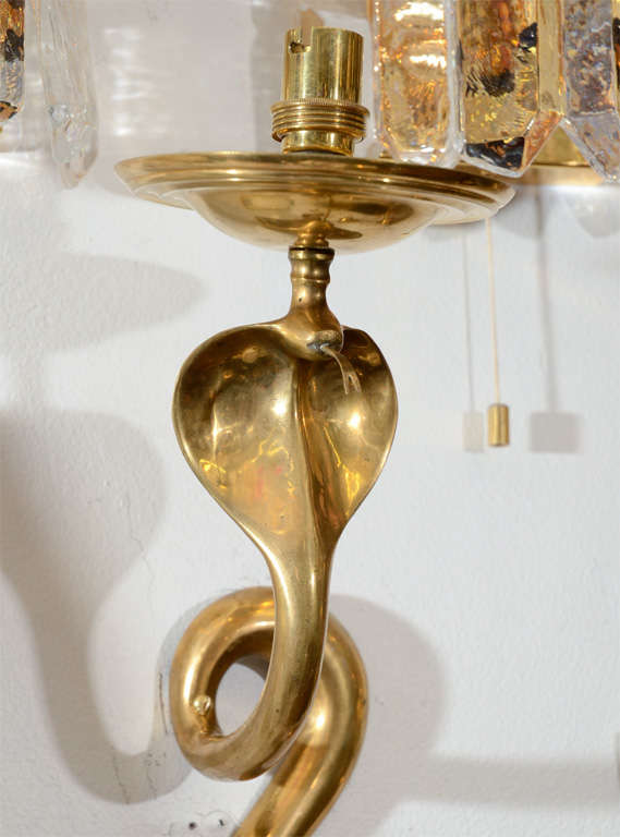 Single Art Deco Solid Brass Serpent Sconce For Sale 2