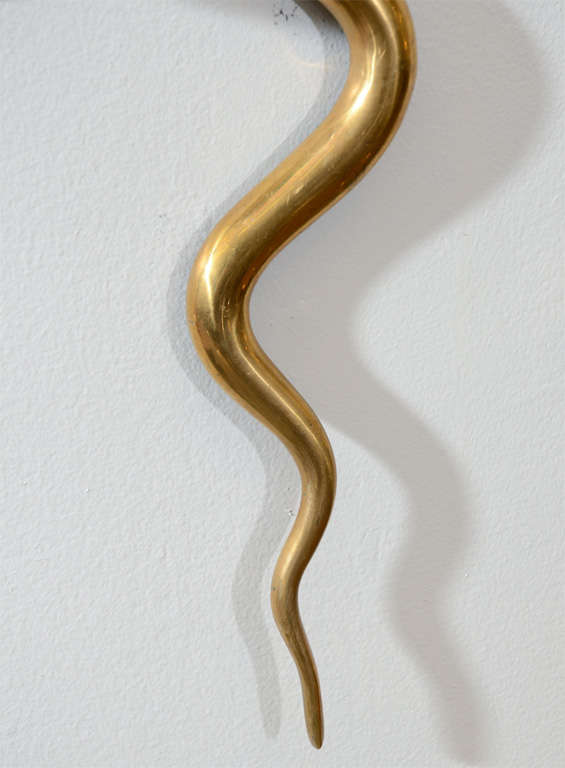Single Art Deco Solid Brass Serpent Sconce For Sale 3