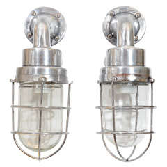 Pair of Mid Century French Industrial Lantern Form Ship Sconces