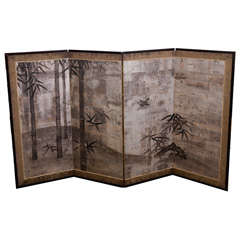 Japanese Four Panel Folding Screen with Bamboo and Bird Scene