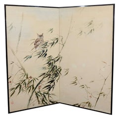 Japanese Two Panel Folding Screen with Owl and Bamboo