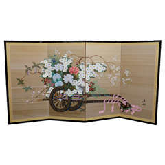 "Vintage Japanese ""Flower Cart"" Folding Screen"