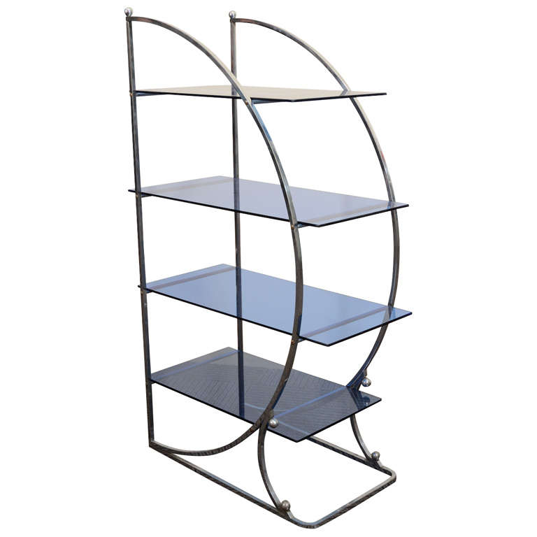 art deco chrome and glass four tier etagere at 1stdibs. Black Bedroom Furniture Sets. Home Design Ideas
