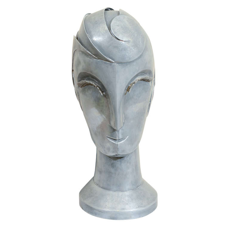 Art Deco Metal Sculpture of a Female Face Attributed to Walter Kantack
