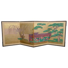 Japanese 4 Panel Folding Screen with Eight Samurai