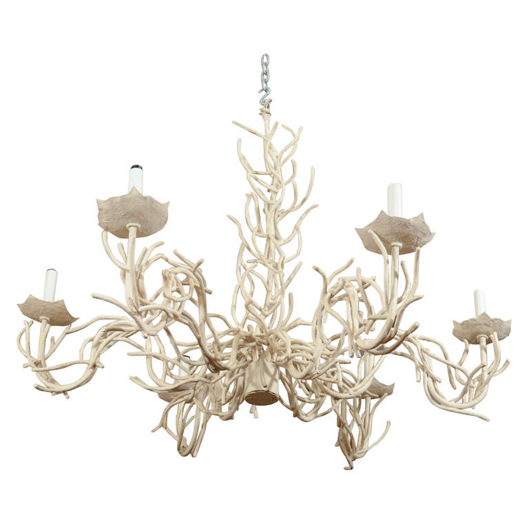 Mid Century Phyllis Morris Faux Coral Chandelier At 1stdibs
