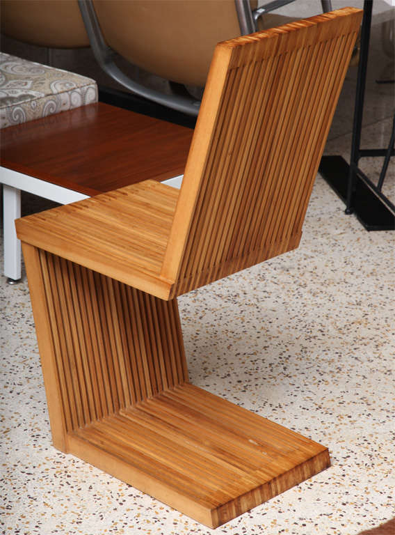 American Four Slatted Eucalyptus Wood Chairs For