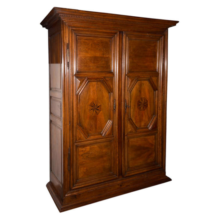 Early 19th Century Italian Walnut Armoire, Two-Door