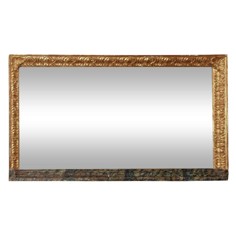 Large Horizontal Giltwood and Faux Marble Mirror at 1stdibs