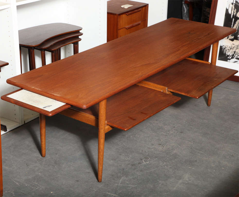 1950 S Teak And Oak Coffee Table With Pull Out Trays 2