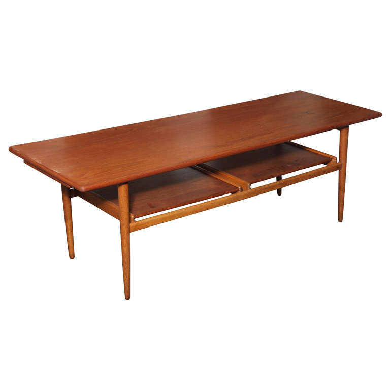 1950 39 S Teak And Oak Coffee Table With Pull Out Trays At 1stdibs