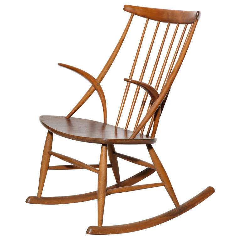 Danish Modern Rocking Chair by Illum Wikkelso at 1stdibs