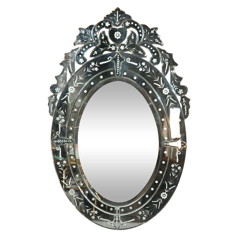 Oval Shaped Venetian Mirror at 1stdibs