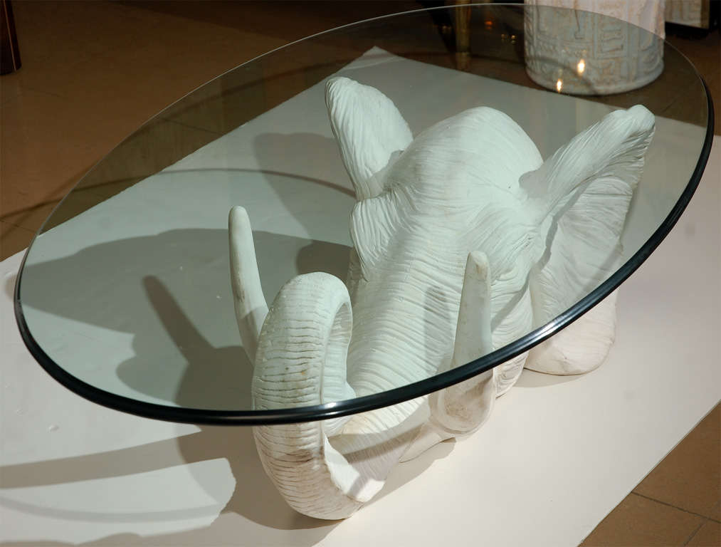 White Plaster Elephant Coffee Table At 1stdibs