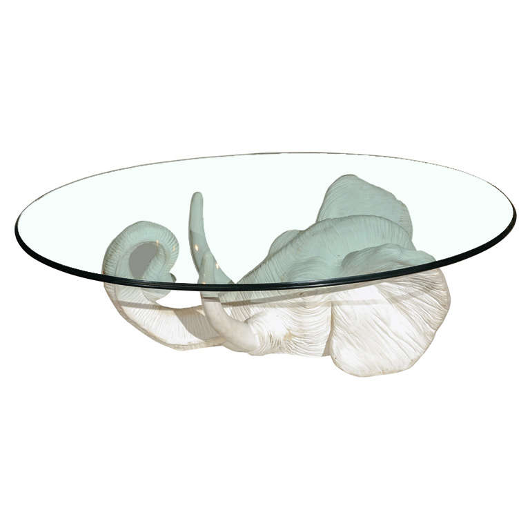 White plaster elephant coffee table at 1stdibs Elephant coffee table