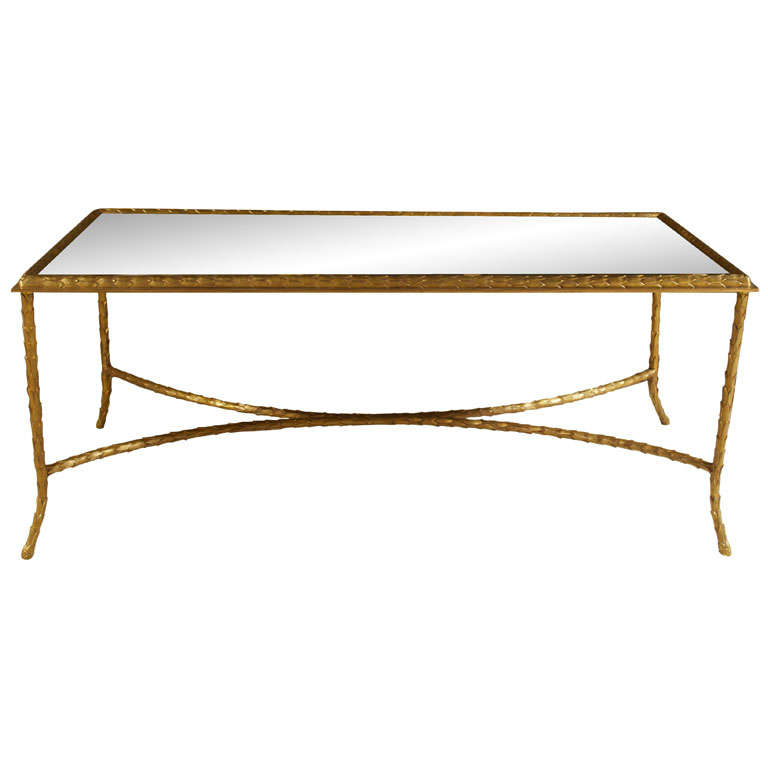 Maison Bagues Elegant Cocktail Table With Eglomise Glass Top At 1stdibs