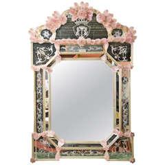 Handblown Venetian Rose Medallion Mirror