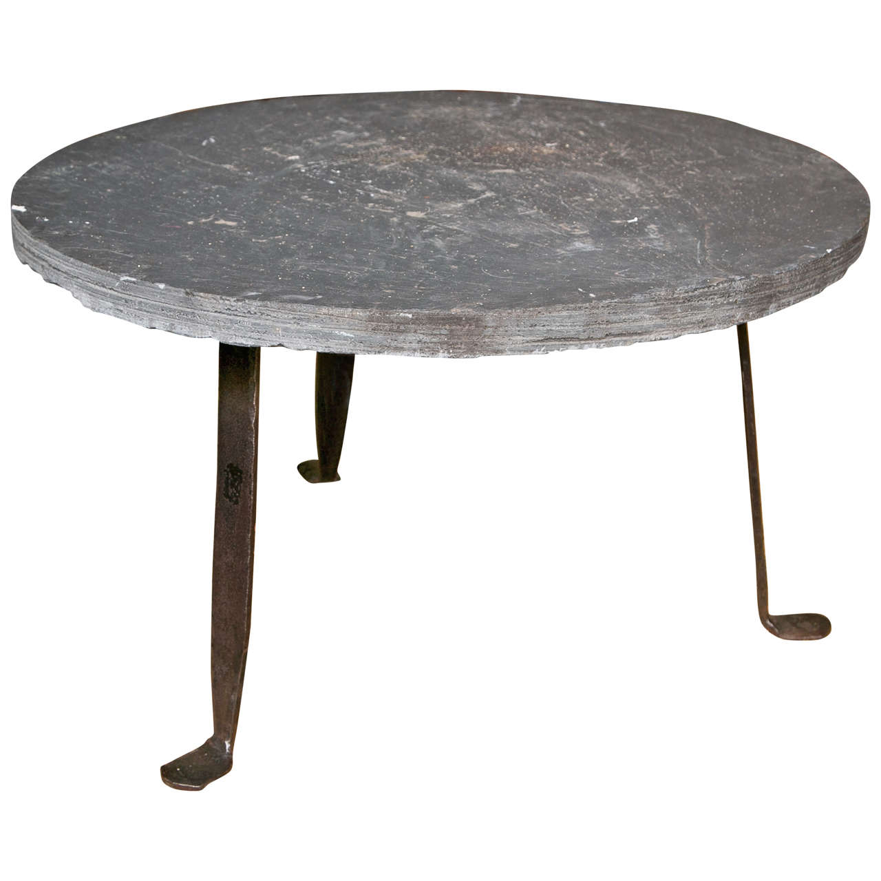 Iron coffee table base with 2 slate top at 1stdibs Slate top coffee tables