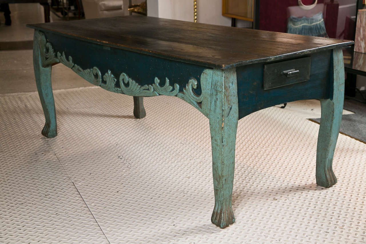 Painted Two Drawer Table With Cabriol Legs And Claw Feet